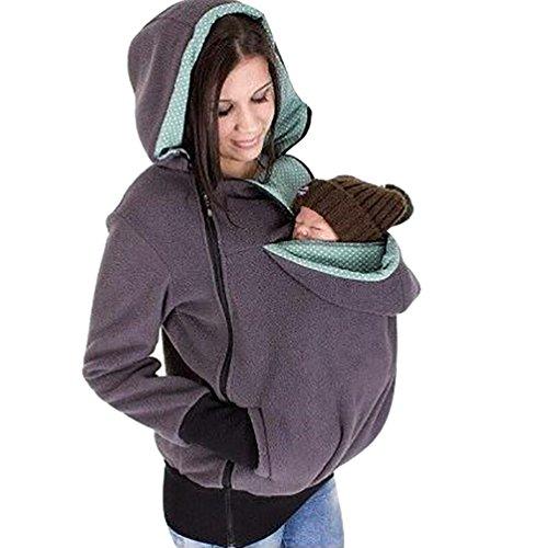 CHENGYANG Donna Felpa maternità con cappuccio 3 in 1 Felpe Canguro Porta Bebè Grigio Asia L