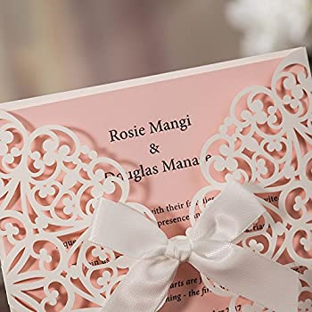 JOFANZA 50x White Square Laser Cut Wedding Invitations Cards with Bow Lace Sleeve Invitations for Engagement Baby Shower Birthday Quinceanera (set of 50pcs) CW6177