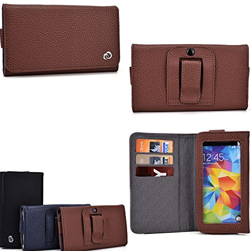 Pu Leather Cell Phone Holder- Unisex Design In Nutmeg Brown- Universal Design Compatible W/ The Following Models: Karbonn A6