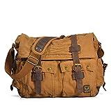 iMaySon(TM) Men/Women's Vintage Canvas Leather Business Schoolbag Shoulder Crossbody Messenger Bag(DeepKhaki)