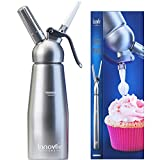 Innovee Cream Whipper - (1-Pint) Professional Aluminum Whipped Cream Dispenser W 3 Decorating Nozzles and Free Desserts Recipes (e-book) - Uses Standard N20 Cartridges (not included)