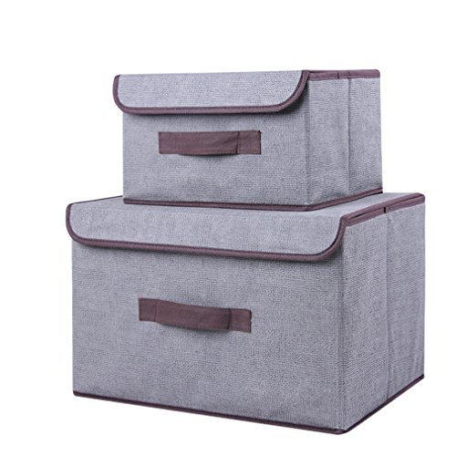 Generic Non-Woven Foldable Storage Box Square Basket Bin With Lid, -2 Pack (gray)