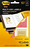 Post-it Multi-Use Designer Series Labels, 4 Designs, Write Only, 1 3/4 x 2 3/4 Inches, 10 Sheets per Pack (6250-PD)
