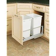 Rev-A-Shelf 5349-18DM-2 Double 35 Qt. Bottom Mount Soft Close Pullout Waste Container - White