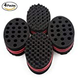 HALLO Big Holes Hair Brush Sponge Twist Wave Barber Tool For Dreads Afro Locs Twist Curl Coil Black(4 Packs) (Color: 4 PCS, Tamaño: 4 PCS)