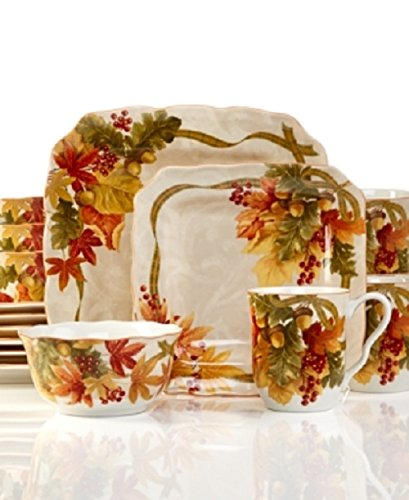 everyday use fall motif color orange green tan style traditional material china number of items included 16 set includes 4 dinner plates