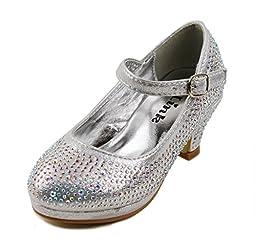Dana-53k Little Girl Mid Heel Rhinestone Pretty Sandal Dress Shoes (9, Silver)