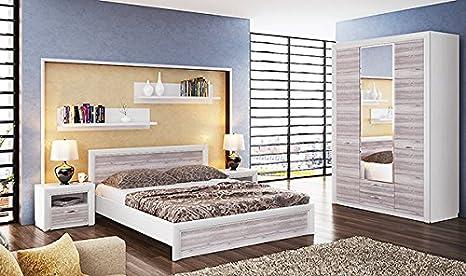 Schlafzimmer komplett mit Kleiderschrank 136 cm 6809 woodline creme / ancona eiche