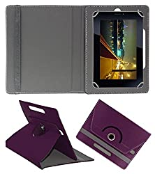 Acm Rotating 360° Leather Flip Case For Vizio Vz-706 Cover Stand Purple