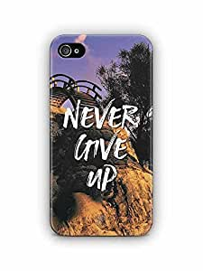YuBingo Never Give Up Designer Mobile Case Back Cover for Apple iPhone 4