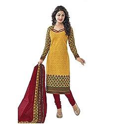 Nikki Fab Orange Cotton Unstitched Dress Materials