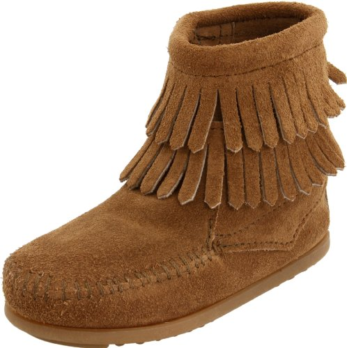 Minnetonka Double Fringe Moccasin (Toddler/Little Kid/Big Kid),Beige,4 M US Big Kid