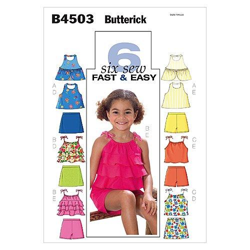 Butterick Patterns B4503 Children's/Girls' Top, Skort and Shorts, Size CL (6-7-8)