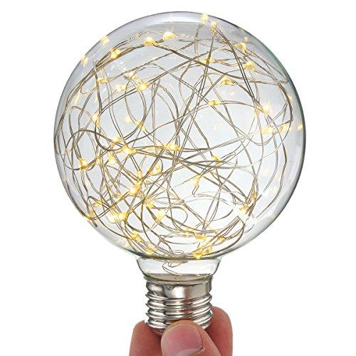 KINGSO G95 Vintage Edison Bulb,E27 Base 3W 300LM Antique Filament Globe Spiral Design LED Lights for Christmas Home Party Cafes Bars Decoration Warm White 2