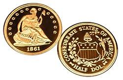 1861 Confederate (CSA) Half Dollar Silver Coin - Replica