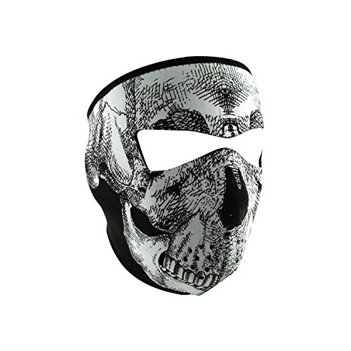 ZANheadgear Neoprene Black and White Skull Glow in the Dark