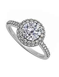 Cubic Zirconia Double Halo Engagement Ring In 925 Sterling Silver Cost Effective
