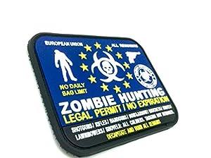 """Badge Velcro Permis Légal Européen EU Chasse """"Zombie Hunting"""" PVC Airsoft Bleu"""