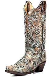 Corral Ladies Bronze w/Turquoise Glitter Inlay Boot