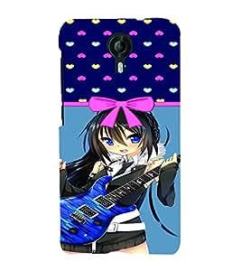 PrintVisa Music Guitar Girl 3D Hard Polycarbonate Designer Back Case Cover for Micromax CanvasNitro4G E371