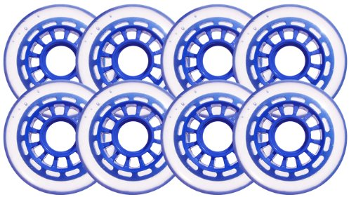 Cheapest Prices! Clear / Blue Inline Skate Wheels 76mm 78a 8-Pack