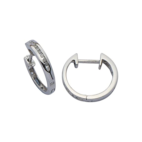 Adara 9 ct White Gold Diamond Hoop Earrings