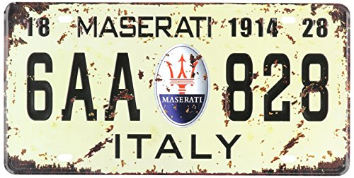 maserati-1914-6aa-828-italy-vintage-auto-license-plate-embossed-tag-size-6-x-12