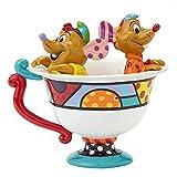 Enesco Disney by Britto Jaq & Gus in Tea Cup Figurine, 5-Inch