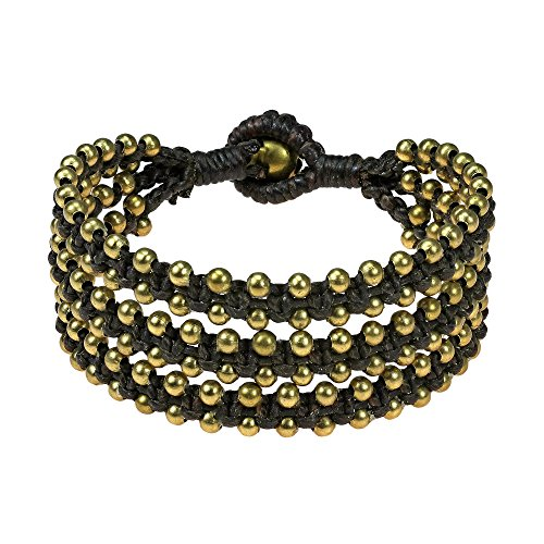 Organic Beauty Brass Beads Triple Strand Bracelet