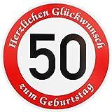ORIGINAL VERKEHRSSCHILD * 50 * MIT GEBURTSTAGSTEXT als Sonderschriftzug zum Geburtstag als...