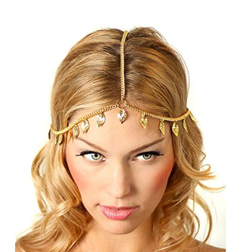 [Baishitop Women Leaf Tassels Golden Head Chain] (Cleopatra Outfit)