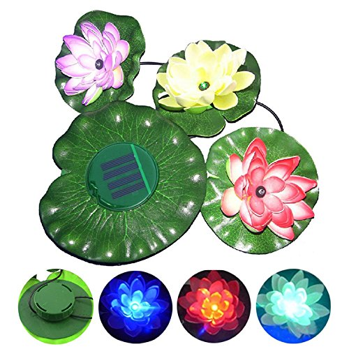 Amzdeal® Lotus Light Flower Lamp Solar Power LED Floating Pond Garden Pool Nightlight Floating Pond Garden pool Flower Light Lamp with red blue green led for Garden Pond Pool