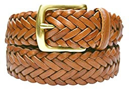 796-TAN - Toneka Men\'s Woven Tan Caramel Full grain Braided Leather Dress Belt (46)