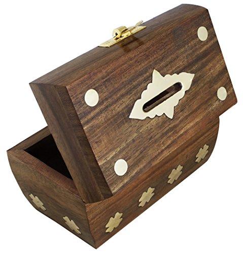 Treasure chest money box safe money box savings banks for Handmade coin bank