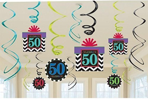 50th Birthday foil swirl decorations