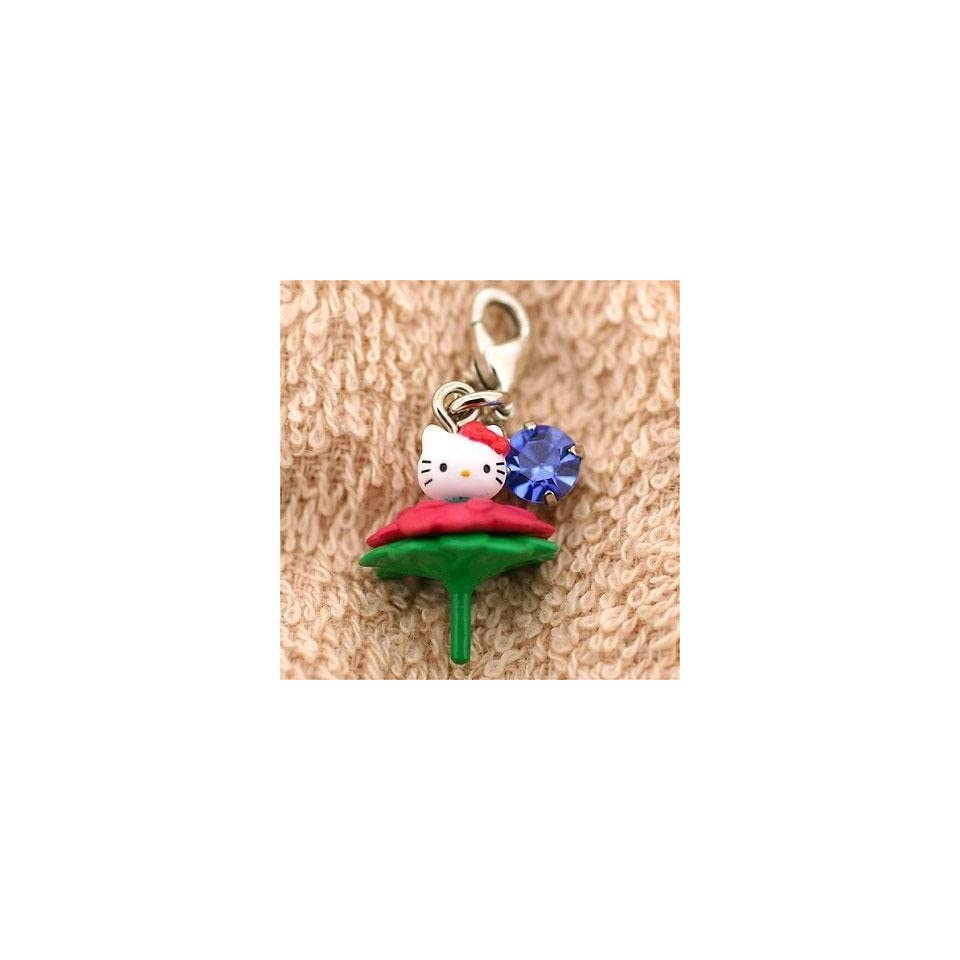 Sanrio Hello Kitty on Flower Cell Phone Zipper Pulls    Japanese Imported