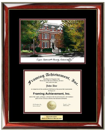 Virginia Commonwealth University VCU Lithograph College Diploma Frame - Personalized Gold or Silver Engraved Plate Graduation Diploma Frame - Premium Wood Glossy Prestige Mahogany with Gold Accents - Top mat (Black) Inner mat (Maroon)