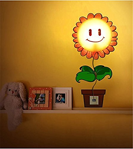Fashion&Online New Fashion Diy 3D Wallpaper And Wall Decoration Design Lampshade Warm White Light Novelty Cartoon Wall Stickers Home Room Decor Decoration Led Night Light Lamp For Kids' Bedroom (Sunflower)