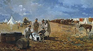 Winslow Homer (Rainy Day in Camp, 1871) Canvas Print Reproduction (11.9x21.7 in) (30.2x55 cm)