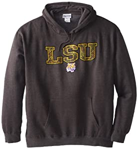 NCAA Louisiana State University Men's Hint of Destiny Hooded Pullover Fleece, Charcoal, Large