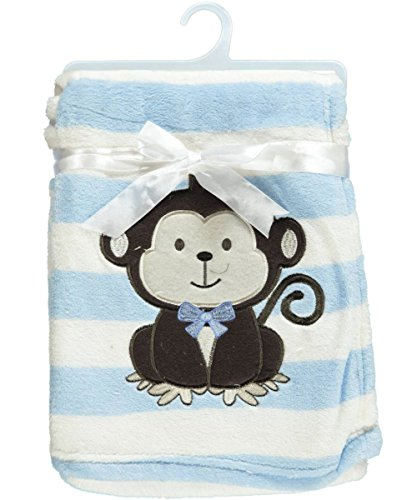 "Snugly Baby ""Monkey Love"" Ultra Soft Plush Blanket (Blue )"