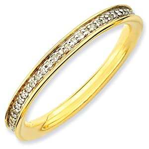 IceCarats Designer Jewelry Size 8 Sterling Silver Stackable Expressions Diamonds Gold-Plated Ring