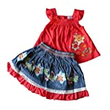 6-12 months - Baby Girls Outfit- Beautiful Red Floral Top & Blue Denim Skirt Set / Babies Summer Clothes