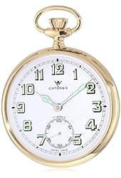 Catorex Men's 170.6.1810.121 Les Breuleux 18k Gold Plated Brass White Luminous Dial Pocket Watch