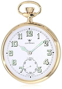 Catorex Men's 170.6.1810.121 Les Breuleux 18k Gold Plated Brass White Luminous Dial Pocket Watch