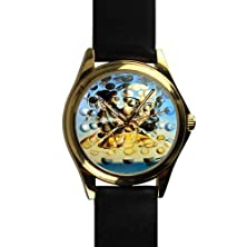 buy Special Design Famous Painting Galatea Of The Spheres By Salvador Dali, Christmas Gift Unisex Gold-Tone Round Metal Watch, Metal Watch With Black Leather Watchband