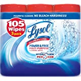Lysol Power and Free Multi-Purpose Value Pack Cleaning Wipes, Oxygen Splash Scent, 105 Count