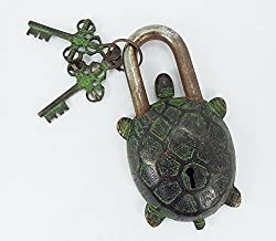 Two Moustaches Tortoise Design Green Coated Functional Brass Lock with 2 Keys