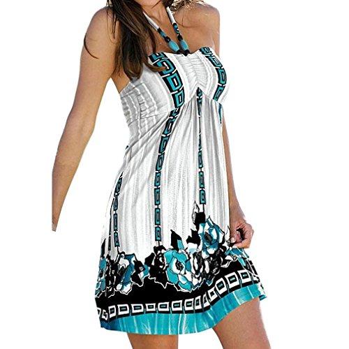 DaySeventh 1pc Women Summer Dress Wrapped Chest Waist Dress Bohemian Casual (S, Type 3)