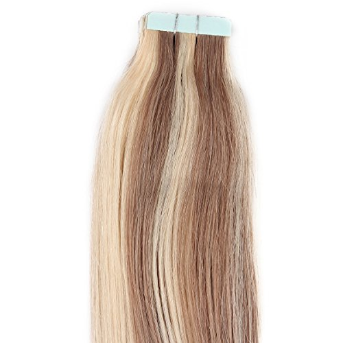 "Beauty7 16"" 18"" 20"" 22"" 24"" Tape In Real Human Hair Extensions #18/613 Dark Ash Blonde & Blonde 45-50G 20 Pieces (22"" 50G) front-578186"